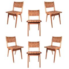 Set of Six Original Jens Risom Woven Leather Chairs