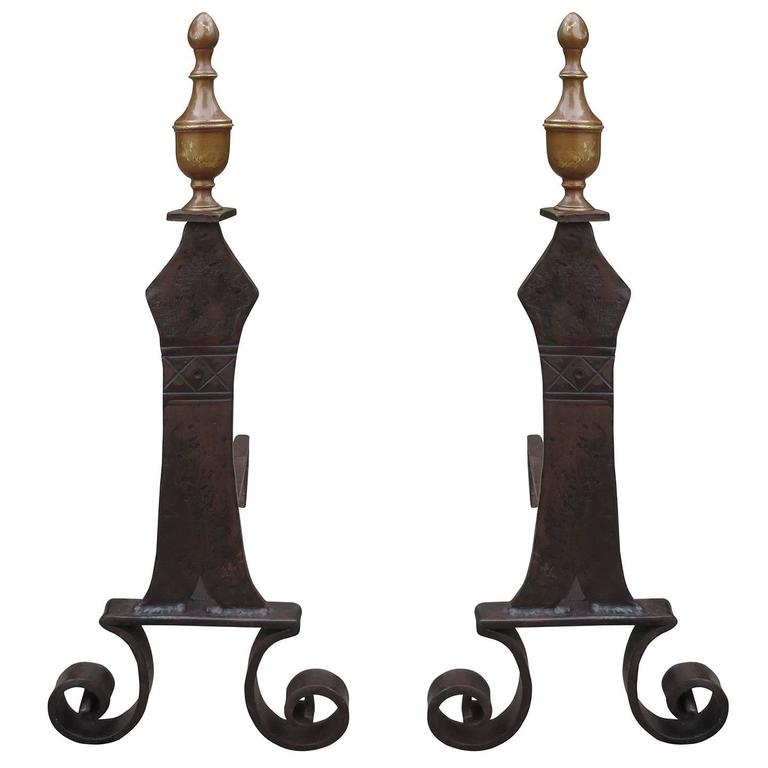 Pair of Early 20th Century Iron and Brass Andirons
