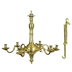 Fine Classic Six-Light English Brass Chandelier with Trammel, Both circa 1750