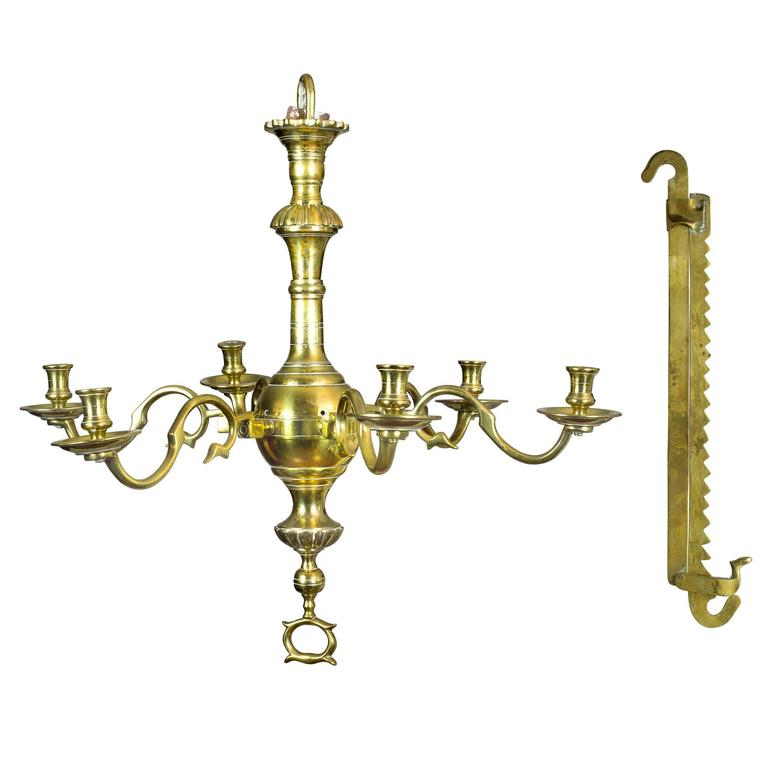 Fine Classic Six Light English Brass Chandelier With