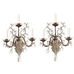 Pair of Three-Light French Bagues Wall Sconces