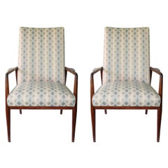 Pair of Ib Kofod-Larsen Teak Lounge Armchairs with Upholstered Backs and Seats