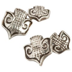 "Line Vautrin, ""Ecusson"", Silvered Bronze Cufflinks, France, circa 1947"