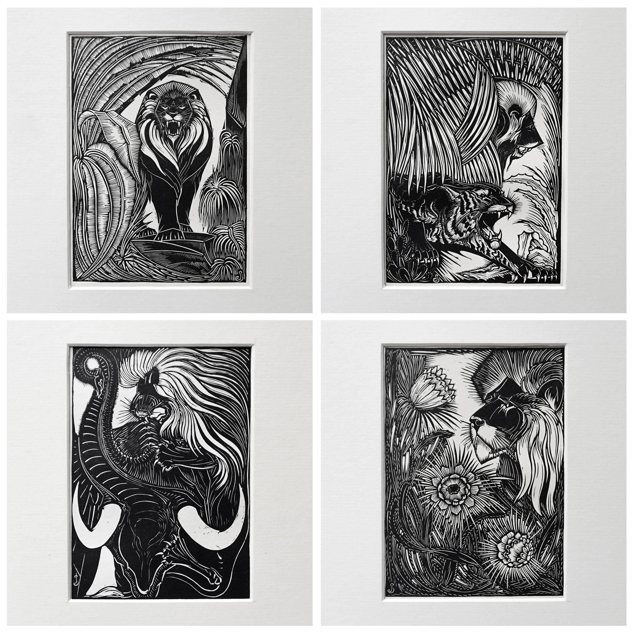 Collection of Five Art Deco Woodprints by Jan Schonk