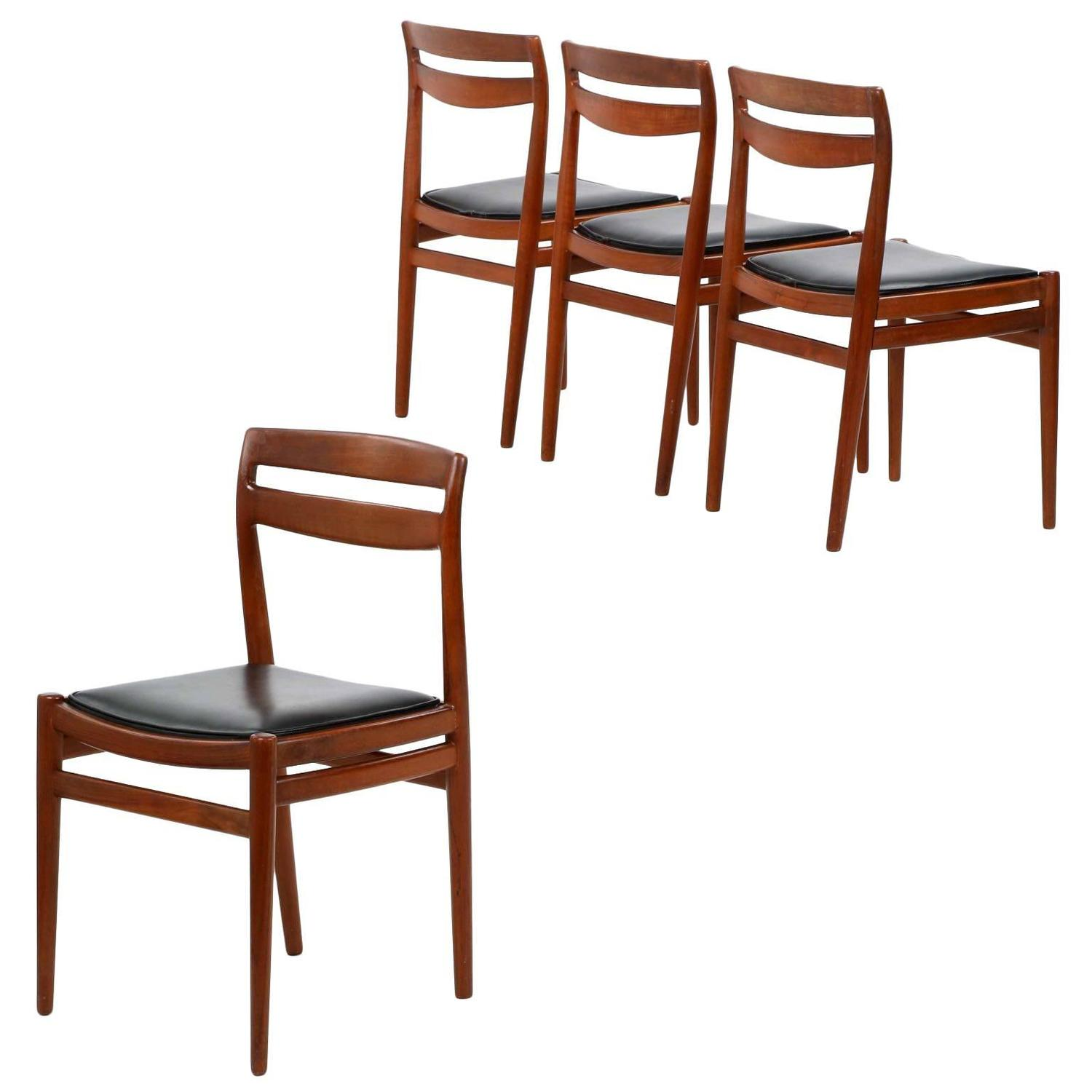 Four Danish Mid Century Modern Teakwood Side Chairs Retailed By Leo
