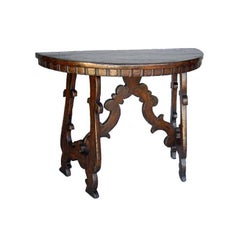 Custom Wood Demi Lune Table With Lyre Leg Base And Dental Molding by Dos Gallos