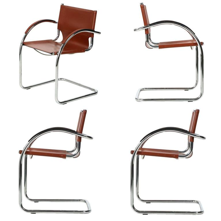 Set Of Four Breuer Style Chrome And Faux Leather Cantilever Armchairs For  Sale