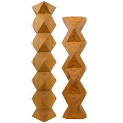 Geometric Carved Wood Totems by Aleph Geddis