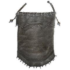 .925 Sterling Silver Mesh Evening Bag Purse