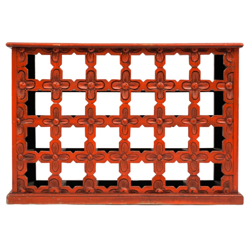Hand carved painted vintage wood wine rack holder for sale for Old wine rack