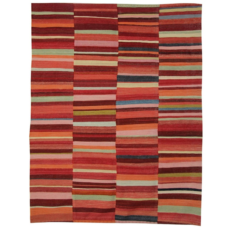 Primitive Kilim Rugs, Modern Striped Kilim Rugs, Floor Modern Area Carpet For Sale