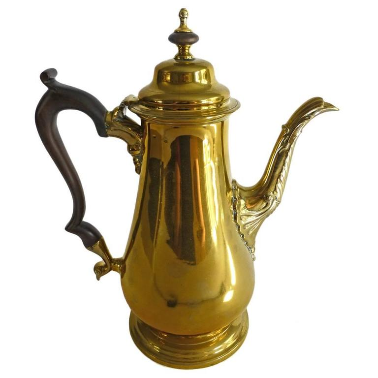 "Exceptional Brass ""Silver Form"" English Coffee Pot with Pseudo Marks, 1755 1"