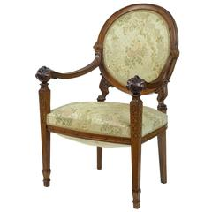 19th Century Carved French Walnut Armchair