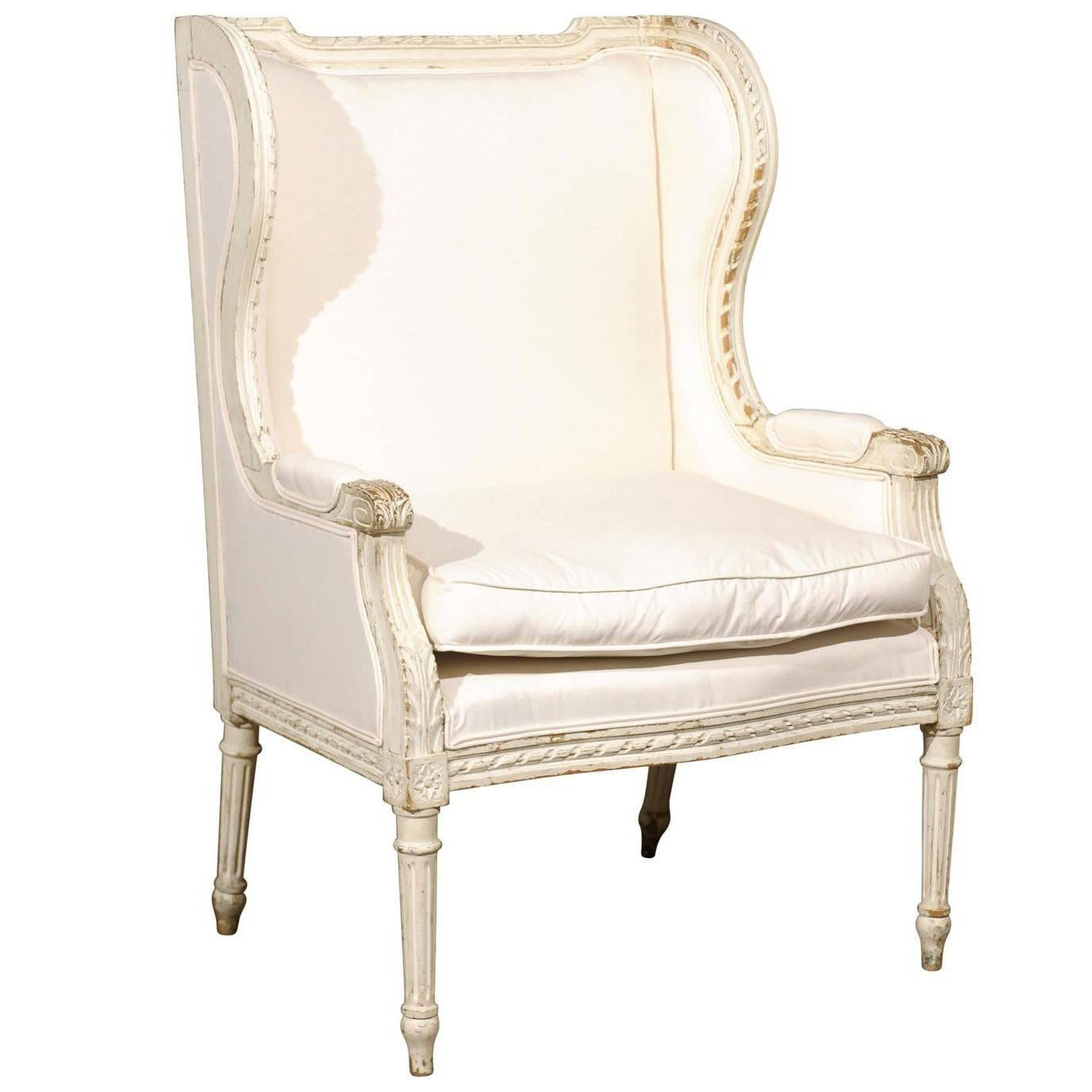 french louis xvi style painted and upholstered berg re chair with rh 1stdibs com
