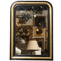 French Mirror with Black and Gold Frame