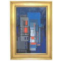 Mid-Century Abstract Linear Painting by Eugene Kloszewski Dated 1956