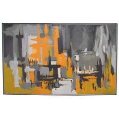 Mid-Century Abstract Painting by Eugene Kloszewski, Dated 1969
