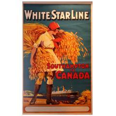 Original Vintage 1920s White Star Line Cruise Ship Poster, Southampton to Canada