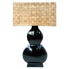 Tall Black Ceramic Lamp
