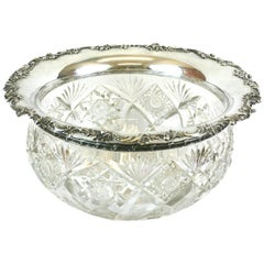 Large Victorian Crystal Punch Bowl with Sterling Lip