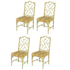 Four Kindel Ivory Lacquer Chinese Chippendale Dining Chairs