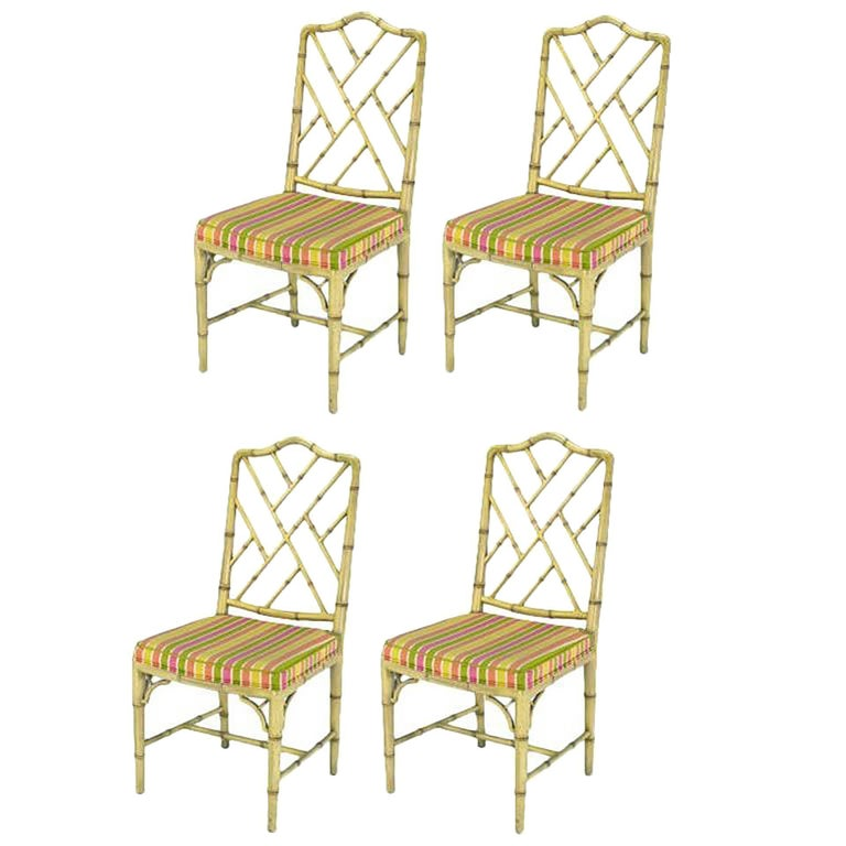 Four Kindel Ivory Lacquer Chinese Chippendale Dining Chairs For Sale