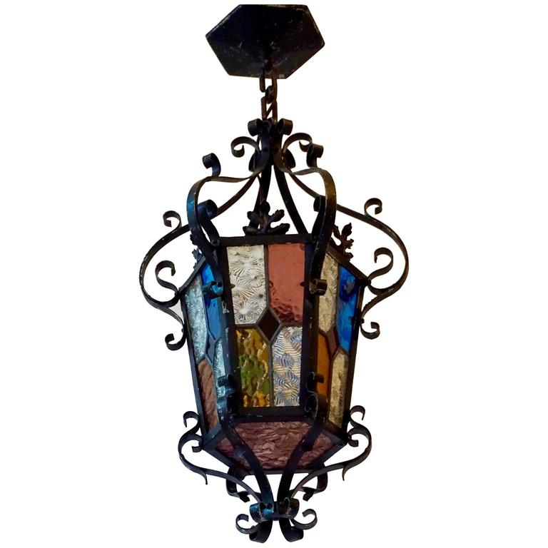 Lantern Chandelier with Stained Glass For Sale