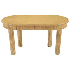 Custom Oval Cerused Oak Writing Desk with Reeded Legs and Apron