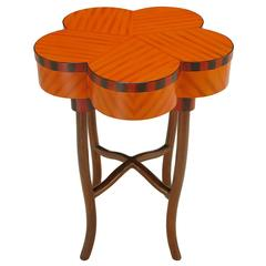 Pentafoil Side Table with Hand-Painted Wood Marquetry Pattern