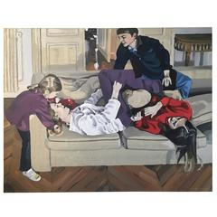 """Oil on Canvas """"La Bagarre,"""" François Boisrond, 1999"""