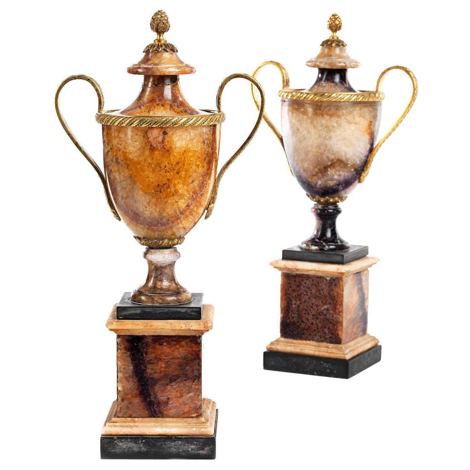 Fine Pair Of Ormolu And Marble Mounted Blue John Vases At