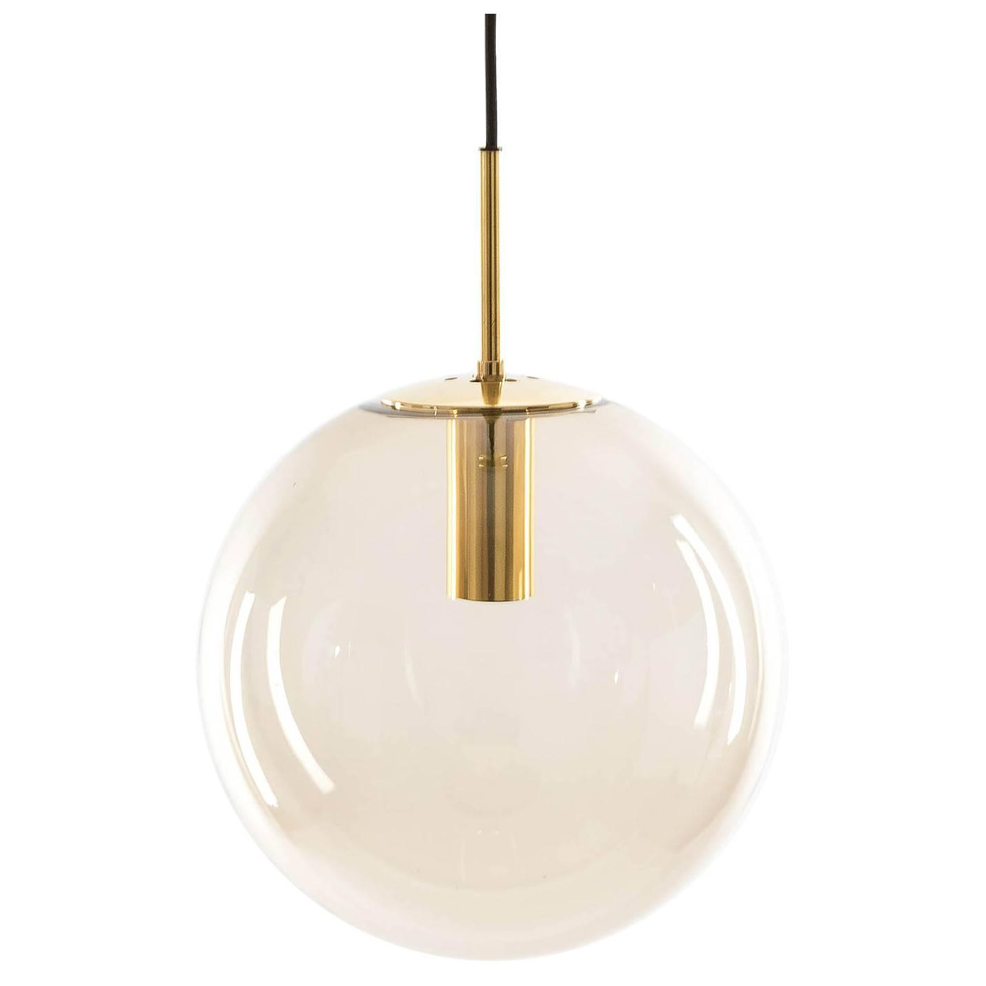 Limburg Pendant Lights Brass and Brown Glass Globes 1960s For