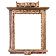 Small 18th Century Venetian Mirror Carved and Polychrome Giltwood