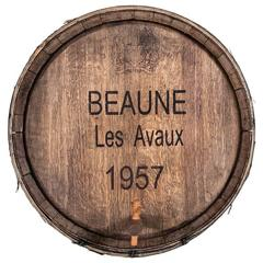 Burgundy Beaune Les Avaux Wine Cask or Barrel Front with Iron Straps and Tap