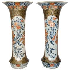 Pair of Japanese Imari Sleeve Vases, circa 1700