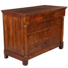 French Empire Walnut Commode, 19th Century