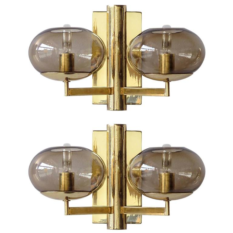 Pair of Double Arm Wall Lights by Gaetano Sciolari For Sale at 1stdibs