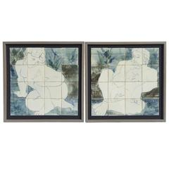 Pair of Signed Classical Style Man and Woman Nudes Glazed Ceramic Tile Murals