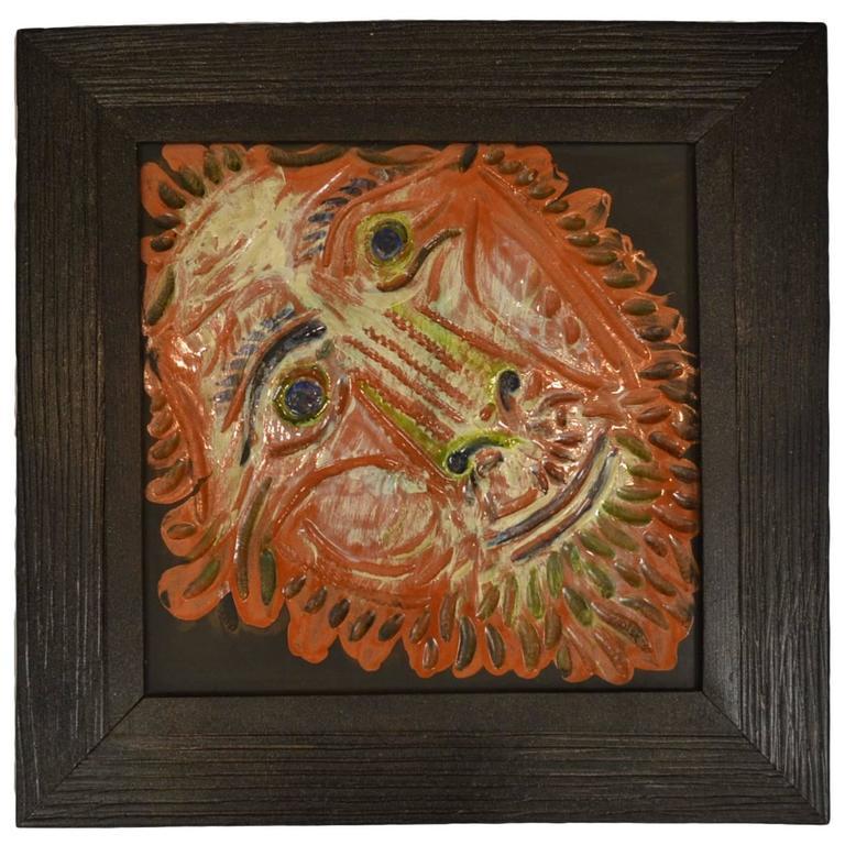 Large Tete De Lion Lion S Head Madoura Pottery Tile Ar 575 By Pablo Picasso At 1stdibs