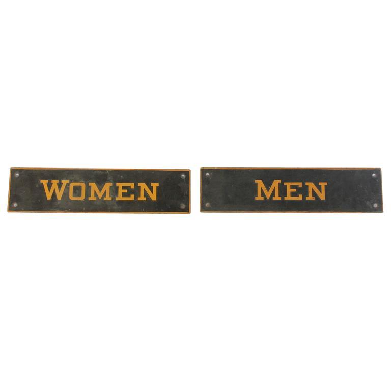 Vintage Metal Restroom Signs At 1stdibs