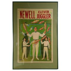 Rare 'Newell Clever Juggler' Lithograph, Donaldson Litho
