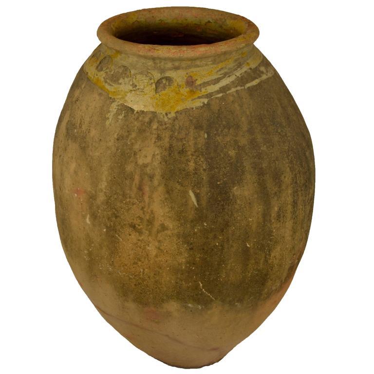 Antique French Terra Cotta Storage Jar with Yellow Glazed Rim from Biot