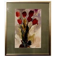 Still Life of Tulip Flowers by Rudolf Ullik, Circle Kokoschka Watercolors, 1970