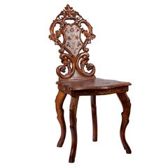 19th Century Hand-Carved Black Forest Musical Chair