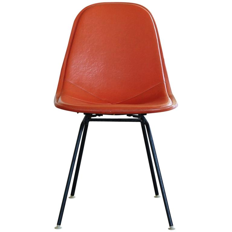 Original Eames Dkx 1 Side Chair In Orange Leather For Herman Miller 1960s