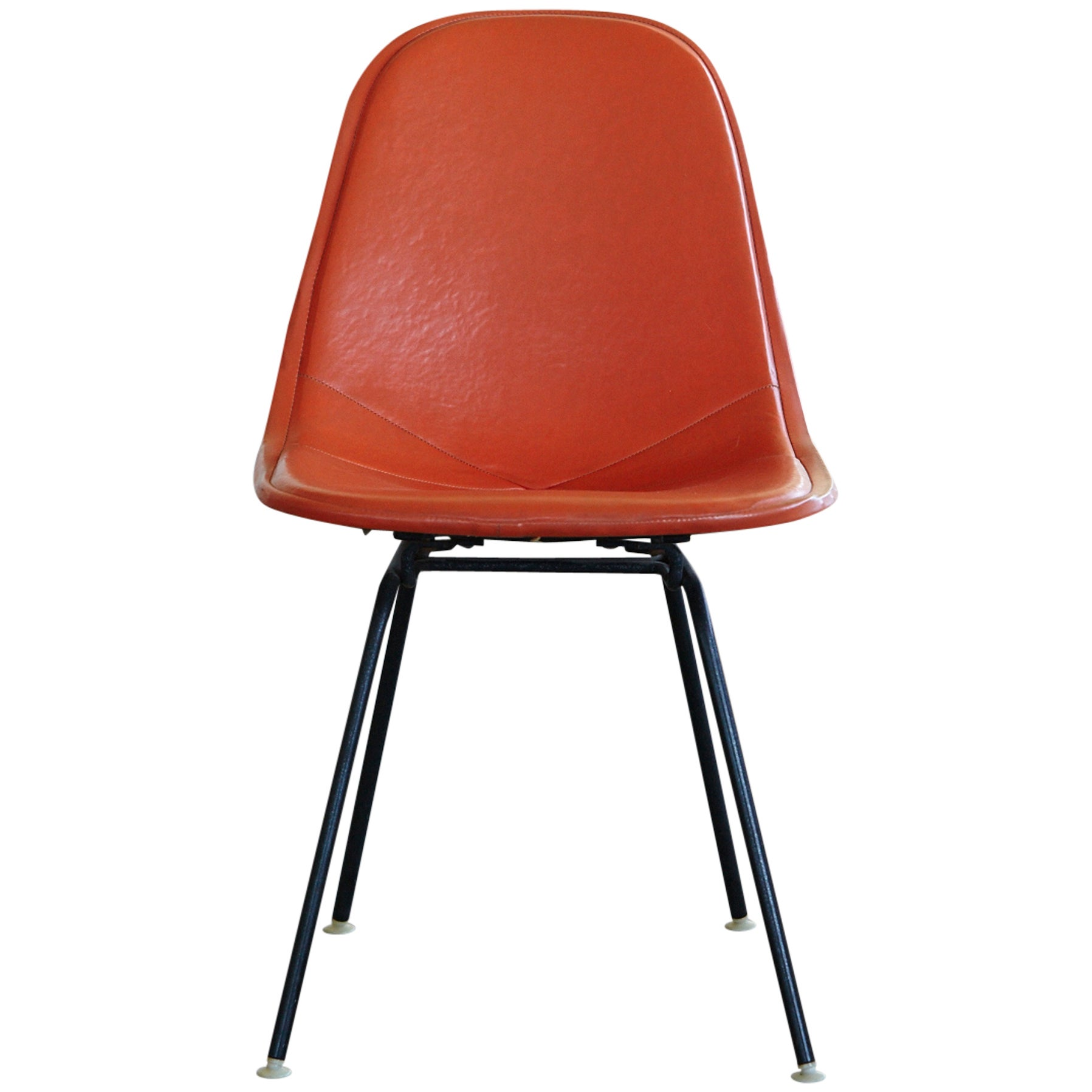 Original Eames DKX-1 Side Chair in Orange Leather for Herman Miller, 1960s