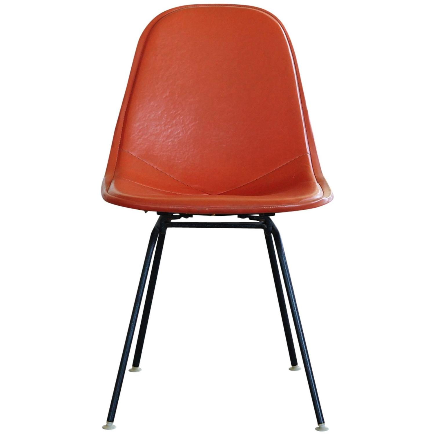 Original eames chair - Original Eames Dkx 1 Side Chair In Orange Leather For Herman Miller 1960s