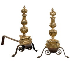 Pair of 18th-19th Century English Wrought Iron and Brass Andirons