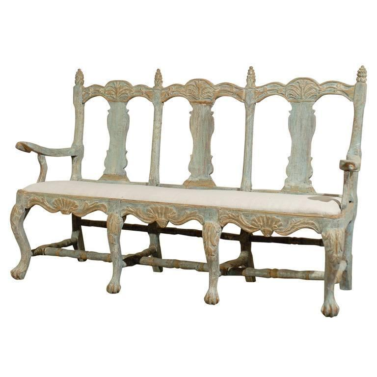 Swedish 18th Century Period Baroque Three Chair Painted Wood Sofa 1