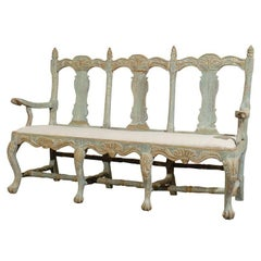 Swedish 18th C. Period Baroque Three-Chair Wooden Sofa Bench, Circa 1725-1750